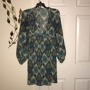Green/blue/brown shirt dress with cuffed sleeves